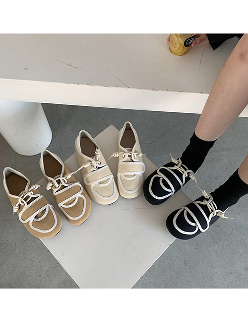 Fashion Brown Soft Sole Lace-up Stitching Canvas Shoes