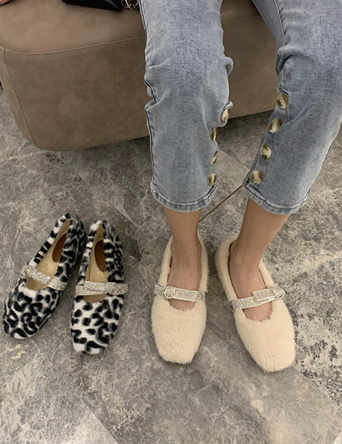 Fashion Black Furry And Velvet Flat Buckle Flat Shoes