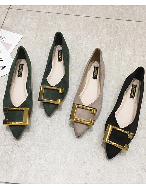 Fashion Khaki Flat Pointed Toe Square Metal Suede Shoes