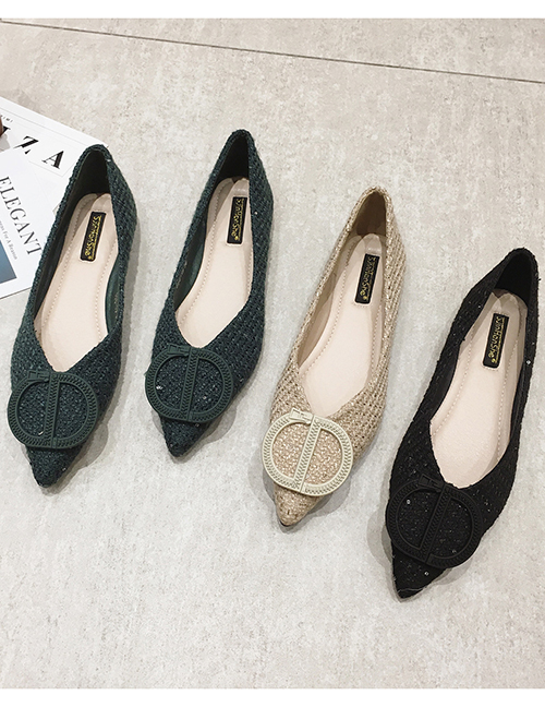 Fashion Green Pointed Toe Flat Letters Flat Shoes
