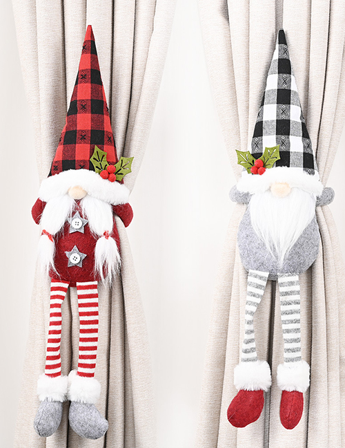 Fashion Gray Faceless Doll Old Man Plaid Striped Curtain Buckle