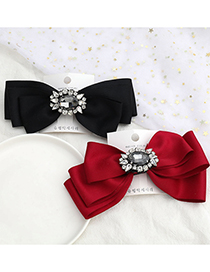 Fashion Black Large Bow Hairpin With Glass Diamond Ribbon