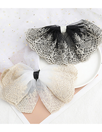 Fashion Black Lace Cotton Woven Flower Big Bow Hairpin