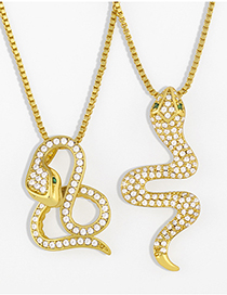 Fashion B Gold Color Single Layer Serpentine Winding Pendant Necklace