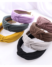 Fashion Purple Solid Color Striped Corduroy Fabric Knotted Wide-brim Hair Band