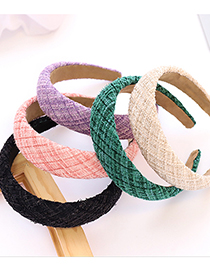 Fashion Yellow Fabric Woolen Fabric Gold Silk And Cotton Wide-brimmed Headband