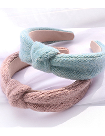 Fashion Coffee Color Solid Color Knit And Knotted Wide Brim Headband