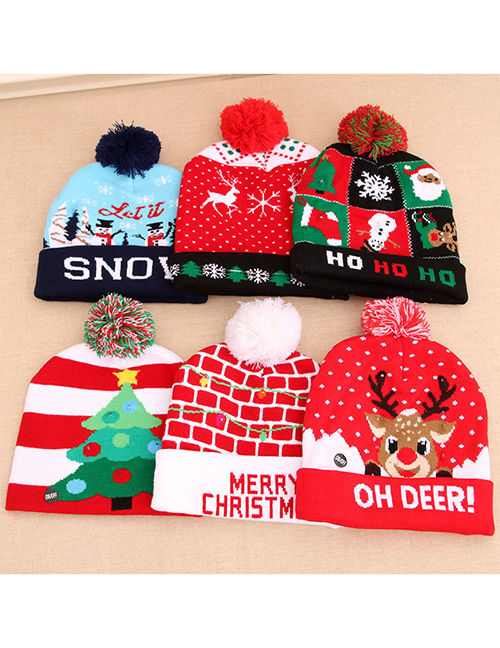 Fashion Contrast Christmas Tree Stripe Print Childrens Knitted Woolen Christmas Hat With Electricity