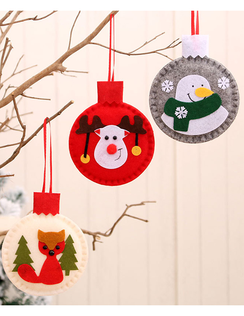 Fashion Gray Felt Cloth Applique Contrast Color Christmas Pendant