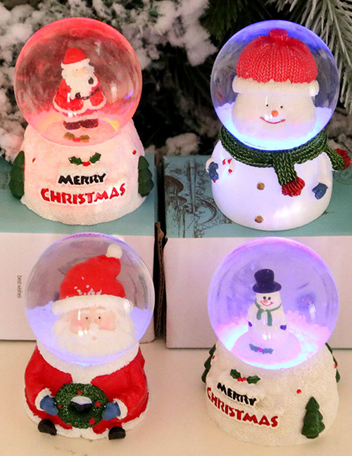 Fashion Standing Snowman Resin Luminous Crystal Ball Desktop Ornaments For The Elderly Live