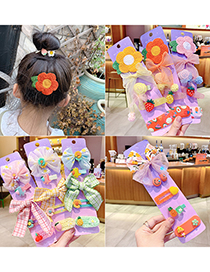 Fashion Pink Puppy[6 Piece Set] Bowknot Flower Resin Fabric Alloy Childrens Hairpin Set