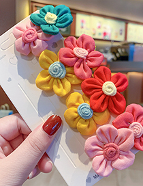 Fashion Pink Green Flowers [hairpin] Flower Fabric Contrast Color Alloy Childrens Hairpin Hair Rope Set