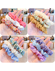Fashion Blue Series [3 Roots] Flower Printed Fabric Childrens Large Intestine Ring Hair Rope