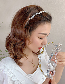 Fashion Grey Shell Pearl Imitation Shell Pearl Flower Geometric Alloy Headband