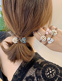Fashion Pink Petal Hair Rope Three Petals Oil Drop Pearl Alloy Knotted Hair Rope