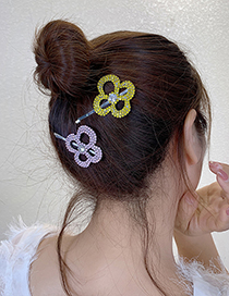 Fashion Colorful Flower Hairpin Diamond Crystal Flower Alloy Hollow Hairpin
