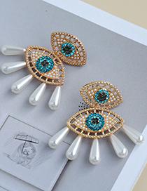 Pendientes De Botón De Ojo De Borla De Perlas De Diamantes De Aleación