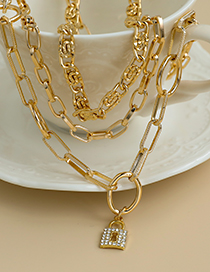 Fashion Gold Color Alloy Chain Multilayer Lock Necklace