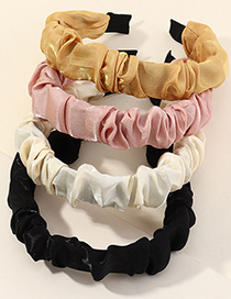 Fashion Pink Fabric Solid Color Wide-sided Folds Covered Headband
