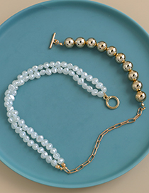 Fashion Splicing Alloy Chain Pearl Resin Stitching Necklace