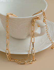 Fashion Golden Alloy Chain Double Necklace