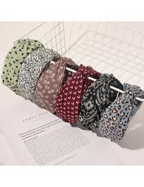 Fashion Wide Fringe Pleated Headband-thin Leopard Beige Cross-printed Wide-sided Pleated Geometric Headband