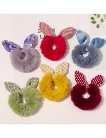 Fashion Big Grid Purple Faux Rabbit Fur Plaid Floral Rabbit Ears Large Intestine Loop Hair Rope