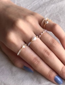 Fashion Beige Natural Freshwater Pearl Hand-woven Rice Bead Ring