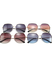 Fashion Upper Gray And Lower Blue Big Frame Square Gradient Alloy Sunglasses