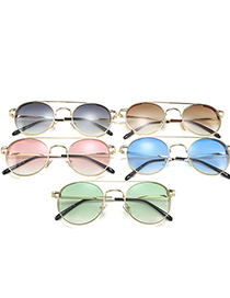 Fashion Gradient Green Double Beam Round Alloy Sunglasses