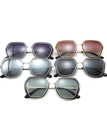 Fashion Gold Frame Gradient Green Gray Square Irregular Polarized Sunglasses