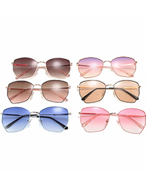 Fashion Pink Gold Frame Purple Pink White Irregular Alloy Gradient Sunglasses