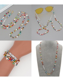 Fashion Color Mixing Soft Ceramic Natural Freshwater Pearl Shell Glasses Chain