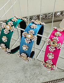 Fashion Gold Color Color Fabric Diamond-studded Pearl Love Headband