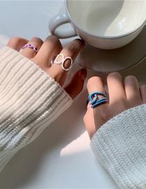 Fashion Blue Geometric Hollow Paint Alloy Ring