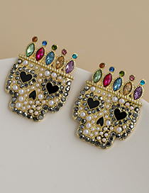 Fashion Color Alloy Diamond Crown Head Stud Earrings