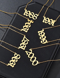 Fashion 2019-gold Stainless Steel Year Number Hollow Necklace