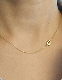 Fashion Z-gold Stainless Steel Letter Hollow Necklace