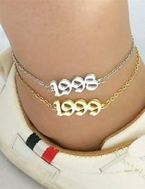 Fashion Golden Color 1988 Digital Year Stainless Steel Hollow Anklet