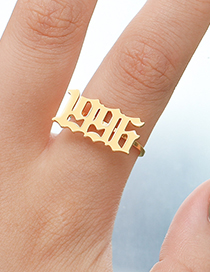 Fashion 2020 Golden Color Stainless Steel Year Number Ring