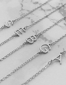 Fashion Silver Color Z Letter Alloy Hollow Thin Chain Necklace