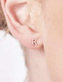 Fashion Rose Gold Z Stainless Steel Small Letter Hollow Earrings