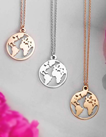 Fashion Rose Gold World Map Pendant Hollow Alloy Necklace