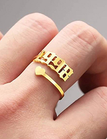 Fashion 2005 Gold Color Love Heart Stainless Steel Digital Hollow Open Ring