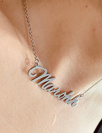 Fashion Steel Color Ab-zoey Letter Pendant Stainless Steel Hollow Necklace