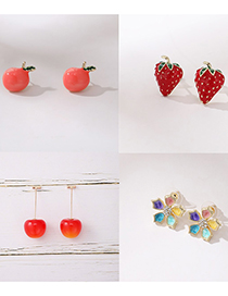 Fashion Cherries Cherries Cherry Strawberry Flowers Drop Oil Diamond Alloy Earrings