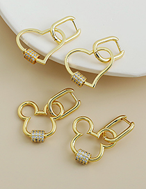 Fashion Gold Color Love Copper Inlaid Zircon Heart Earrings