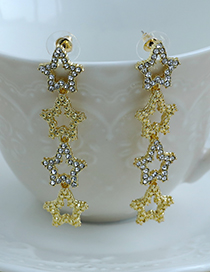Fashion Gold Color Alloy Diamond Hollow Five-pointed Star Earrings