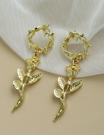 Fashion Gold Color Alloy Branch Rose Gold Earrings