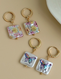 Fashion Floral Alloy Irregular Face Square Pearl Print Earrings